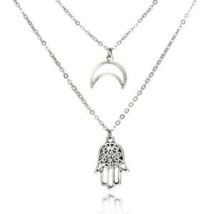 Jewelry - Hamsa and Crescent Moon Necklace